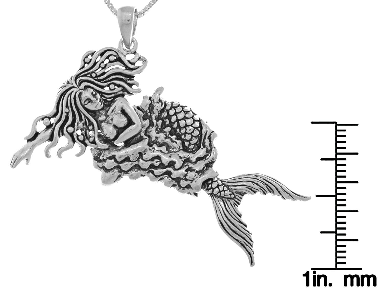 Jewelry Trends Sterling Silver Moveable Swimming Mermaid Pendant Necklace 18