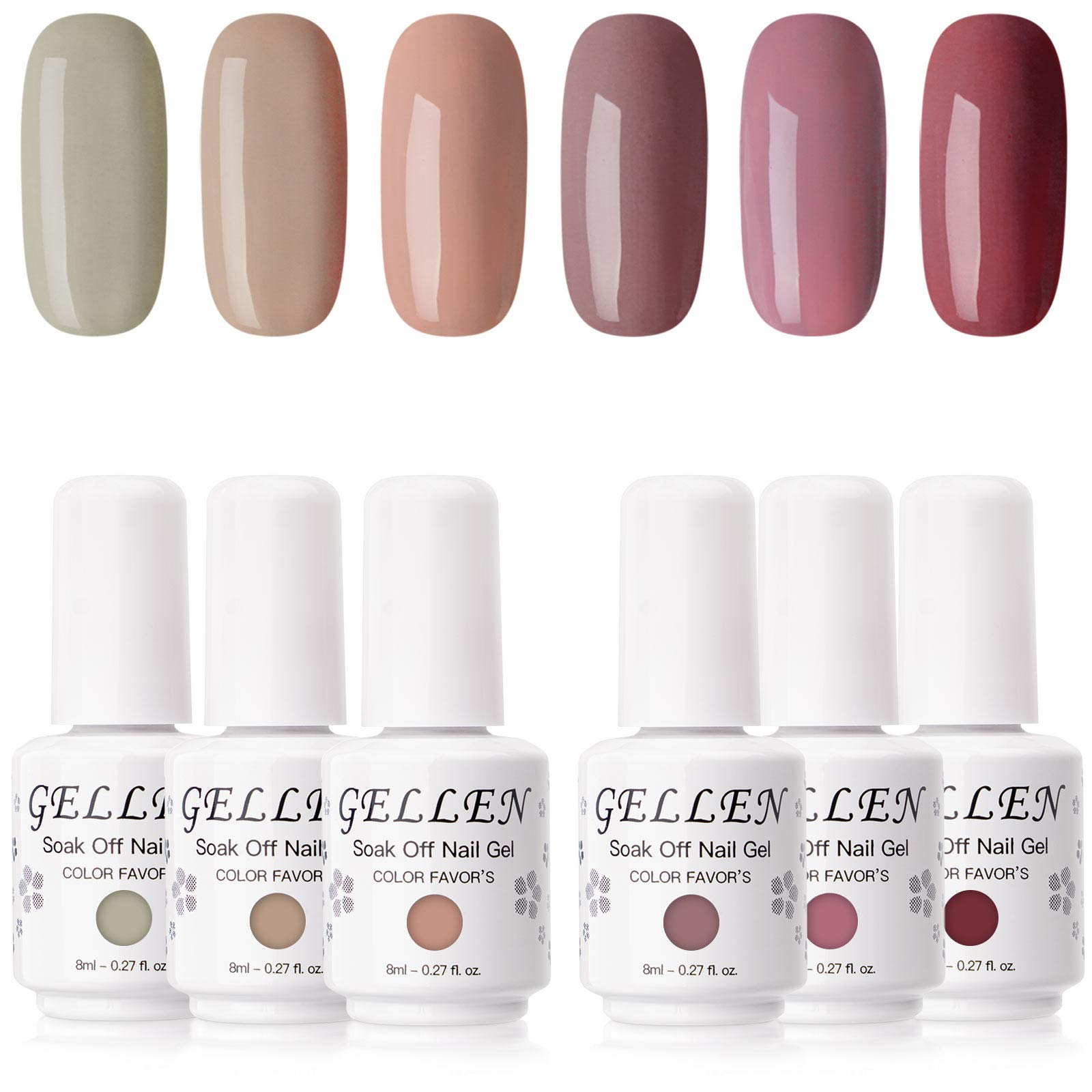 Gellen Gel Nail Polish Kit- Popular Nudes Palette Pastel Neutral 6 Colors, Trendy Warm Earthy Tones Nail Art Gel Polish Home Gel Manicure Set