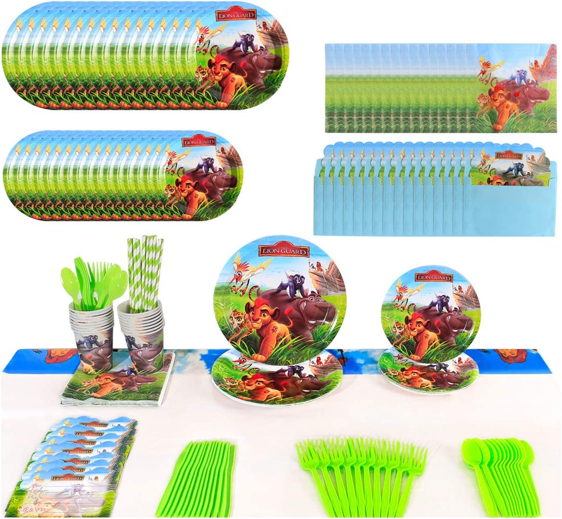 The Lion King Party Supplies, 16 Serves Set Including Invitations Card, Napkins, Plates, Cups, Knives, Forks, Spoons, Straws, Tablecloth Cover, Flatware Kit Theme For Lion Guard Party supplies
