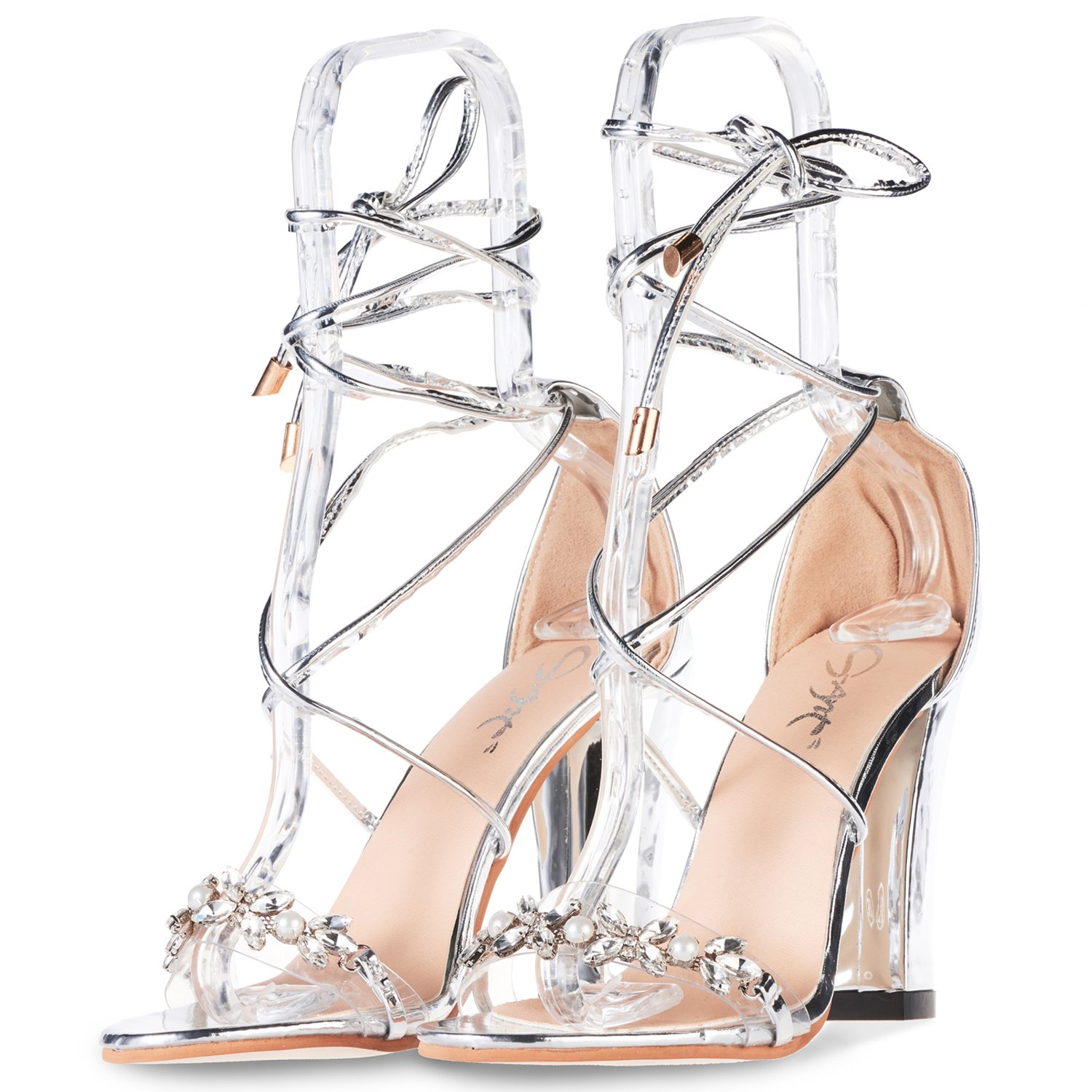 JSUN7 Women's Lace up Chunky High Heels Pumps One Band Pearl Flower Open Toe Sandal Wedding Party Dress Pump Silver 8