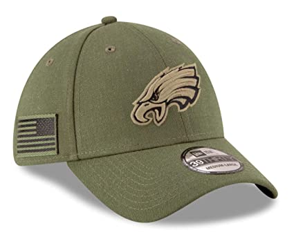 5690276a532 New Era Philadelphia Eagles 39thirty Stretch Cap On Field 2018 Salute to  Service Green - S-M