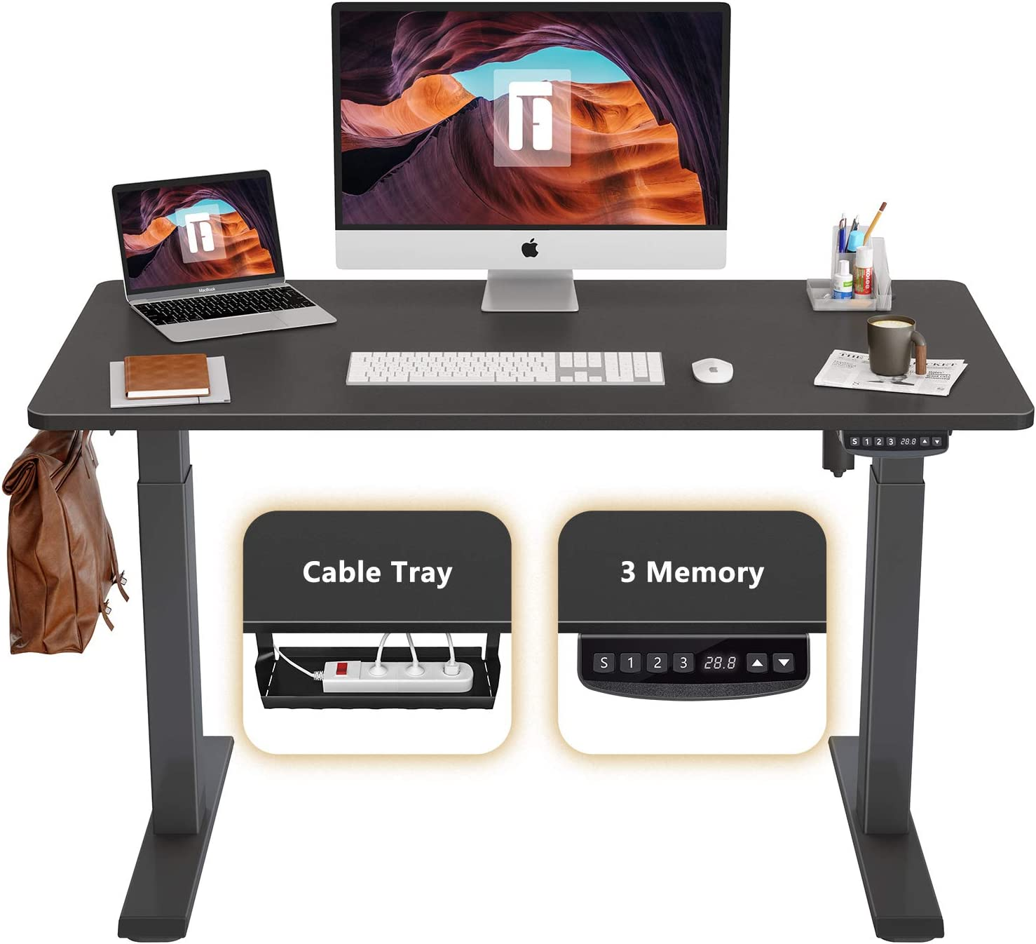 FEZIBO Height Adjustable Electric Standing Desk, 48 x 24 Inches Stand Up Table, Sit Stand Home Office Desk with Splice Board, Black Frame/Black Top