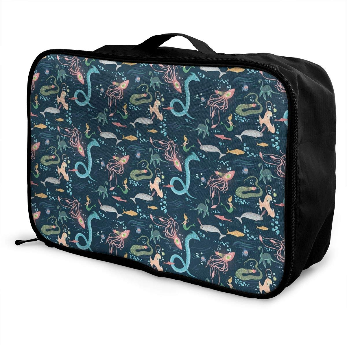 Mermaid Octopus Fish Travel Duffel Bag Casual Large Capacity Portable Luggage Bag Suitcase Storage Bag Luggage Packing Tote Bag Weekend Trip