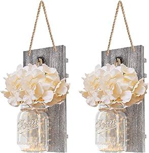 DOGAR Premium Mason Jar Lights - Sconces Wall Décor - Rustic Home Décor with Fairy LED Lights 6 Hours Timer - Silk Hydrangea - Home Kitchen Decoration Wall Sconces Set of 2