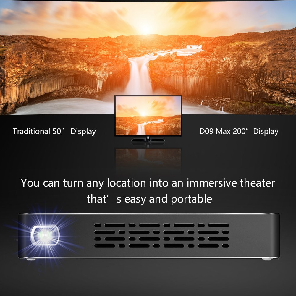 YUANCIN DLP Mini Projector Android Portable Smart Wireless Wifi Home Outdoor Office Projector, Support Automatic Keystone Correction and Bluetooth HD 1080P HDMI-IN USB TF-card by Yuancin (Image #6)