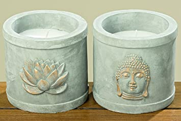 Good Kerzentopf Buddha Beton/Wachs Grau/weiss