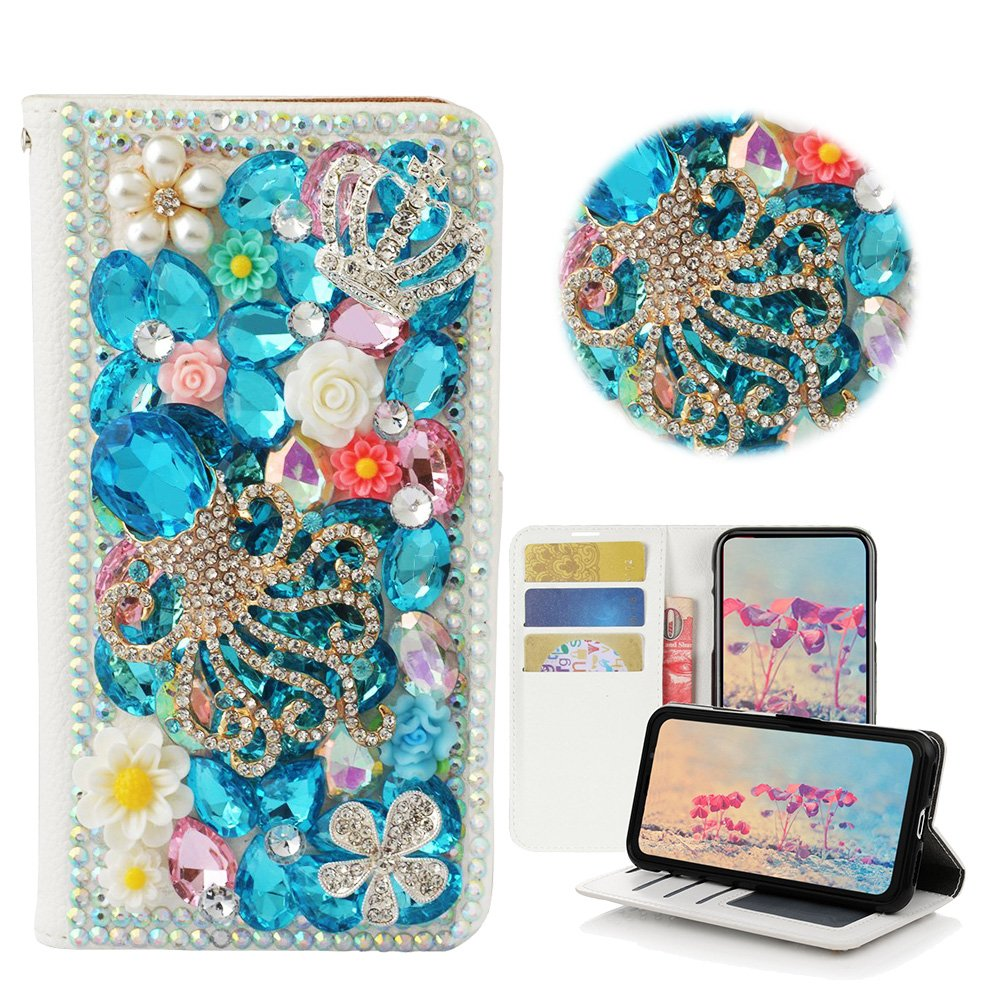STENES iPhone 8 Plus Case - STYLISH - 3D Handmade Bling Crystal Gemstone Octopus Crown Floral Wallet Credit Card Slots Fold Media Stand Leather Case for iPhone 7 Plus / iPhone 8 Plus - Light Blue