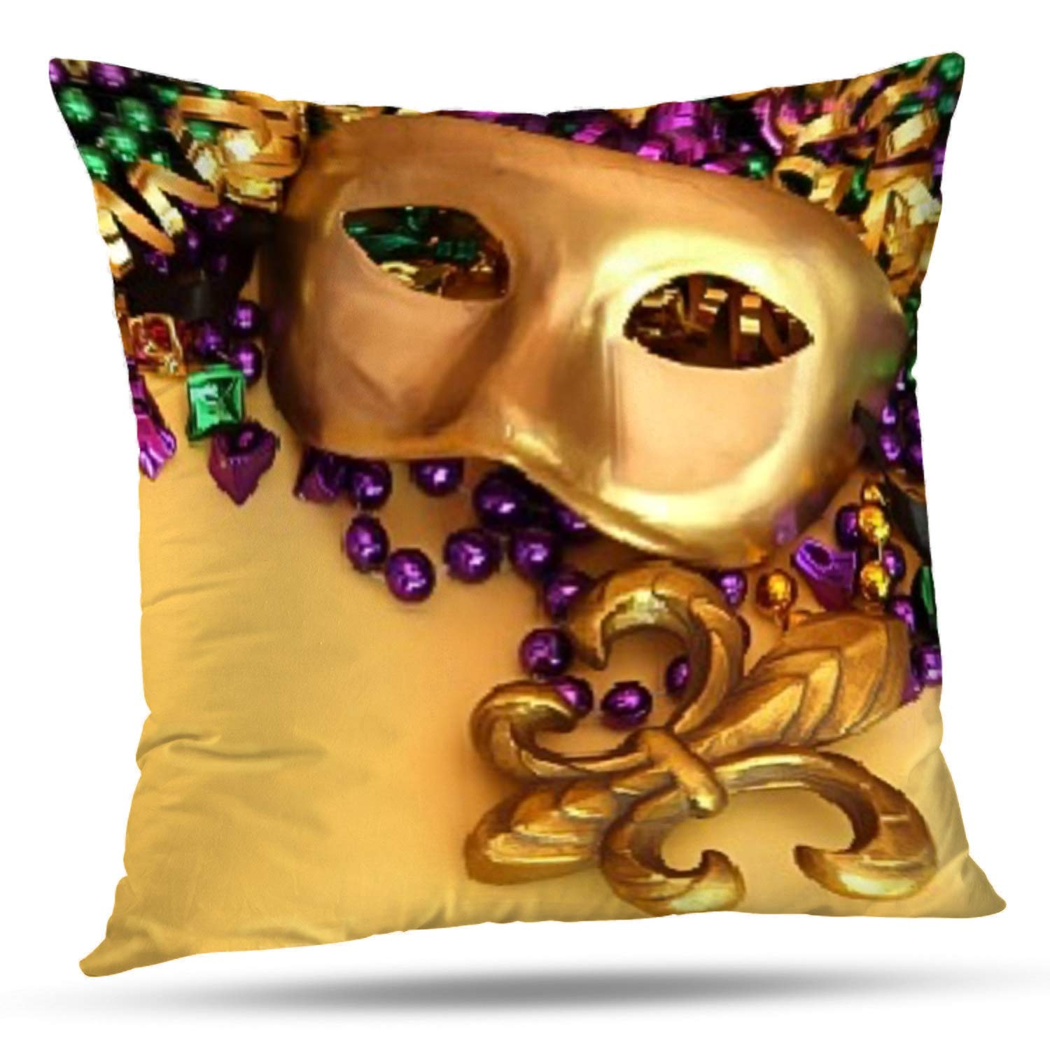 Darkchocl Set of 2 Daily Decoration Throw Pillow Covers Mardi Gras Mask Square Pillowcase Cushion for Couch Sofa or Bed Modern Quality Design Cotton and Polyester 18 x 18