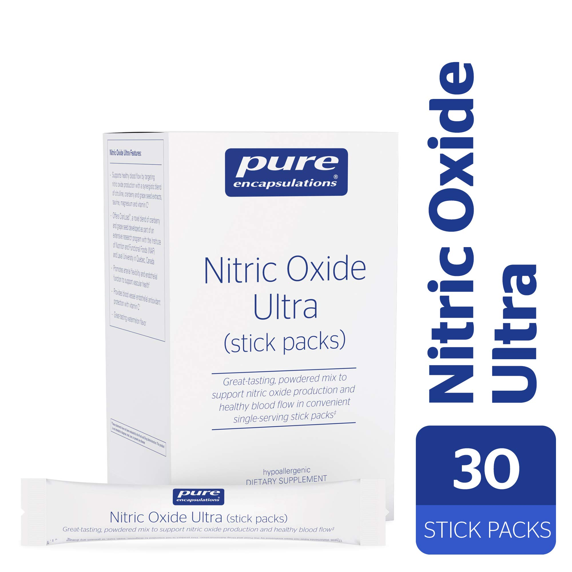 Pure Encapsulations - Nitric Oxide Ultra (Stick Packs) - Hypoallergenic Supplement Supports Nitric Oxide Production and Healthy Blood Flow* - 30 Packets by Pure Encapsulations (Image #1)