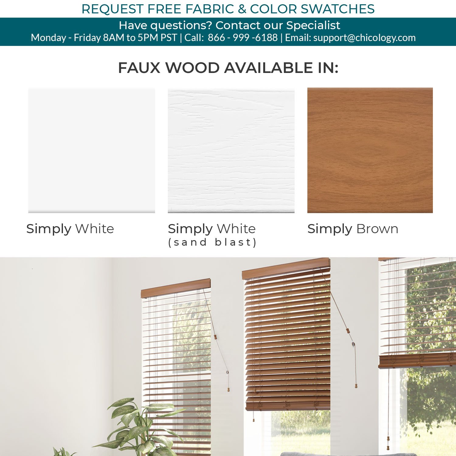 CHICOLOGY Custom-Made 2 in. Faux Wood Blind, Simply Brown, Outside Mount, Right Lift Cord, 27'' W X 36'' H by CHICOLOGY (Image #3)