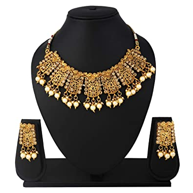 671e9991d80 Buy SADHANA COLLECTION Gold Plated Traditional Kundan and White Pearl  Choker Necklace Set for Women Online at Low Prices in India