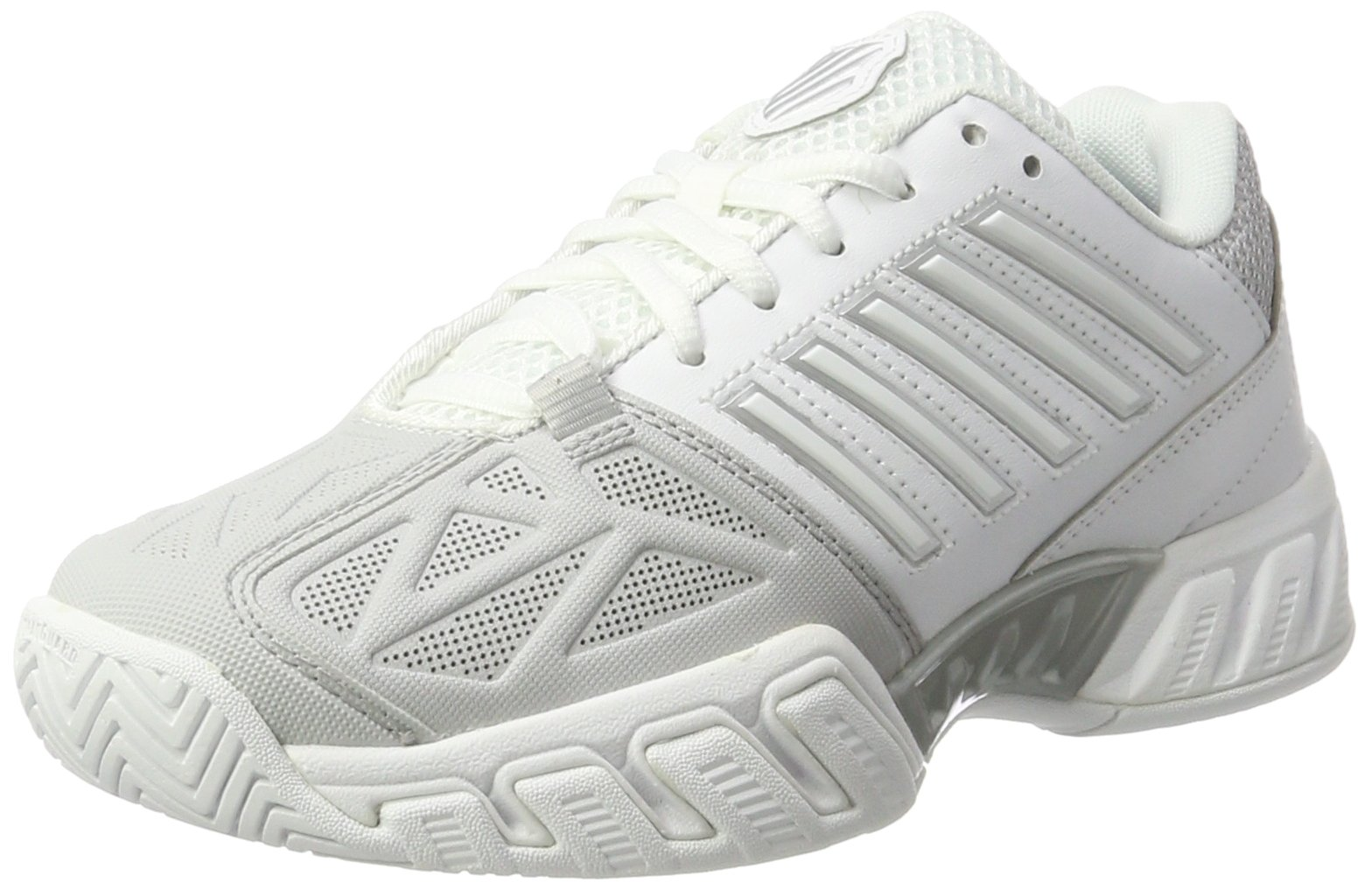 K-Swiss Bigshot Light 3 Womens Tennis Shoe (White/Silver, 8 M US) by K-Swiss