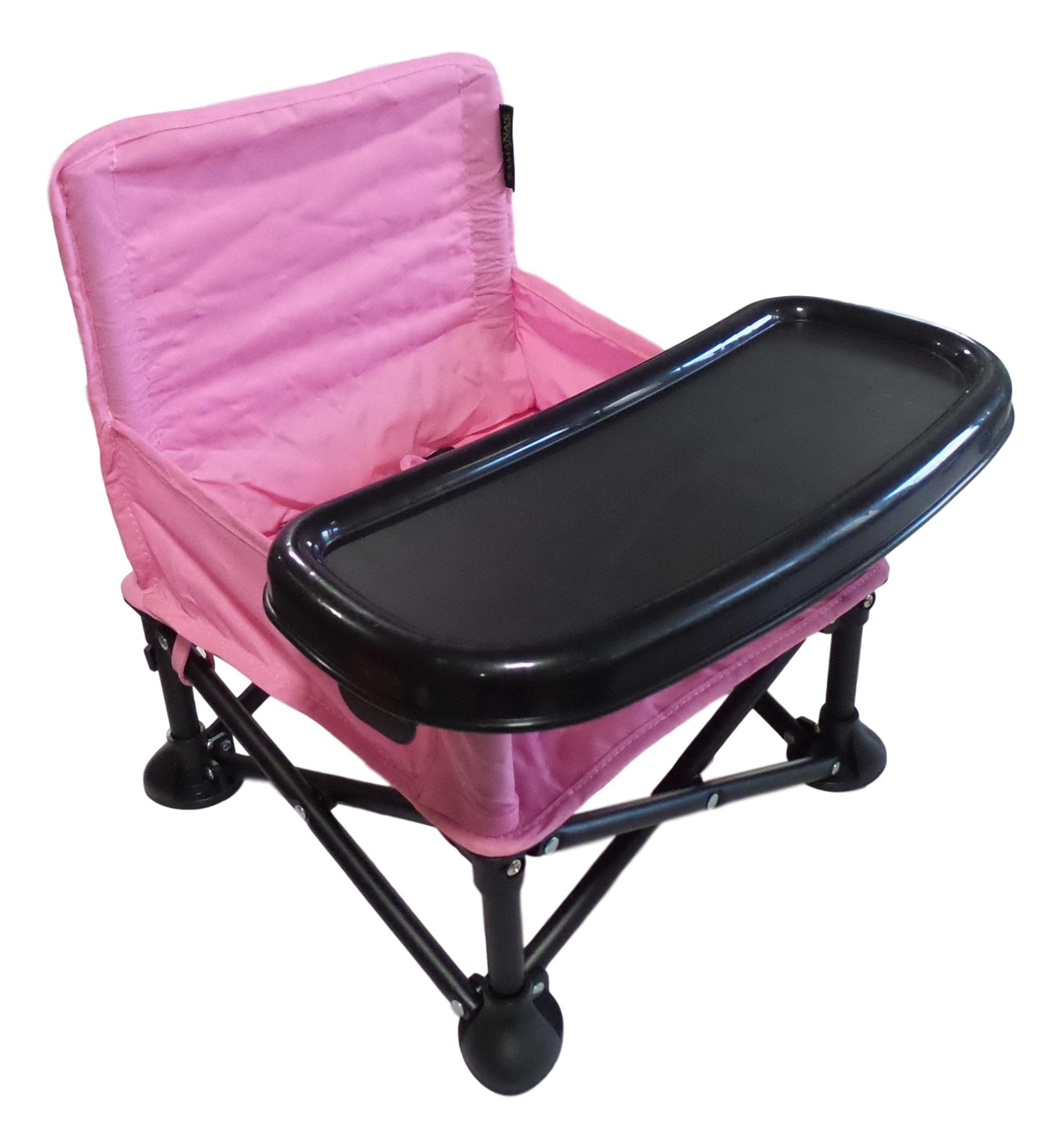 Samana's Goods Portable Baby Booster Seat, Folding Baby Chair with Tray and Carrying Bag for Indoor or Outdoor Feeding Time or Playtime by (Pink) by Samana's Goods