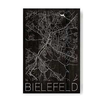 Künstler Bielefeld amazon de artboxone holzbild 60x40 cm städte retro map bielefeld