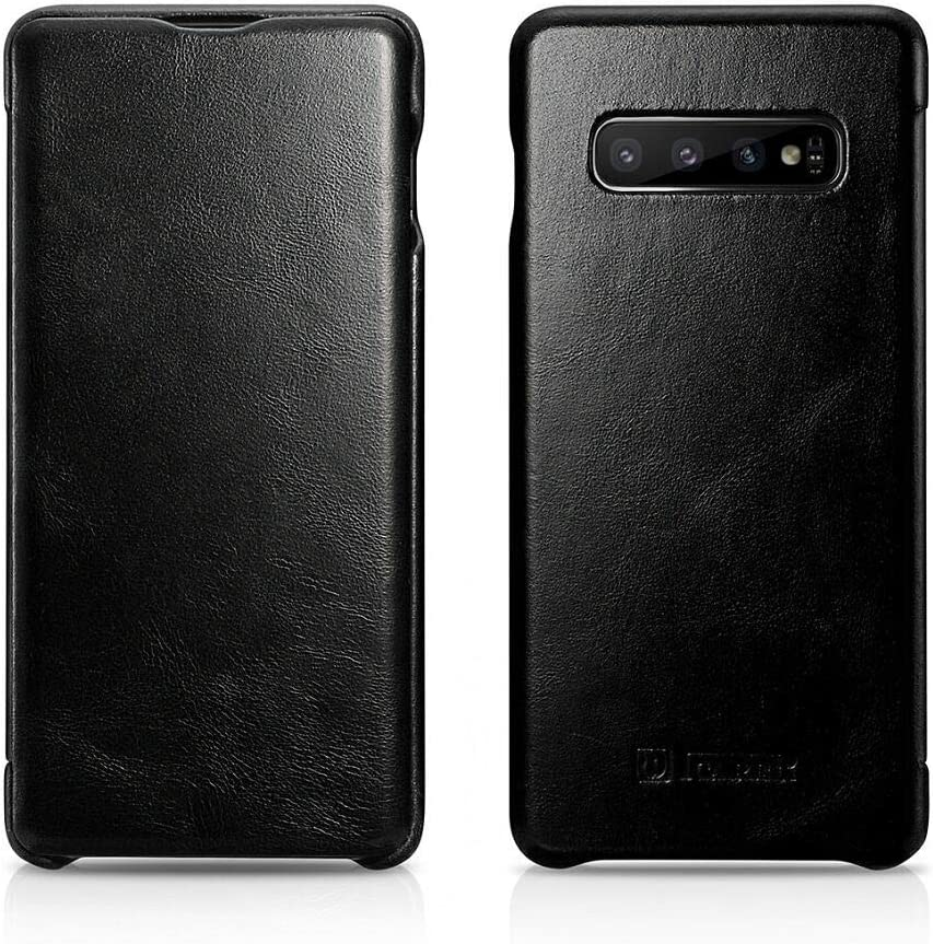 ICARER Galaxy S10 Case, Vintage Series Ultra Slim Genuine Leather Flip Folio Case Side Open Cover Curve Edge Protection for Samsung Galaxy S10 (Black)