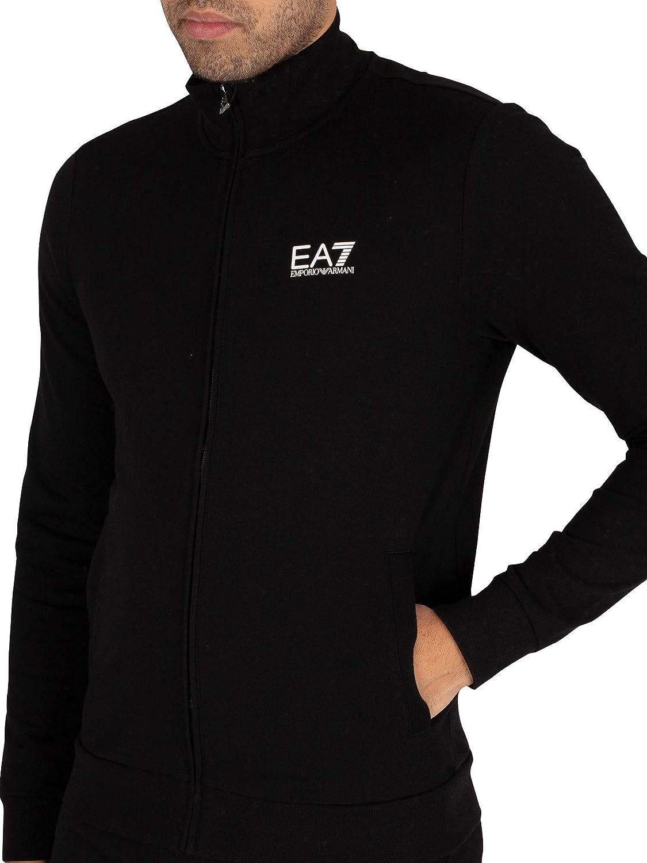 EA7 Tessuto in Cotone Nero con Stampe Bianche