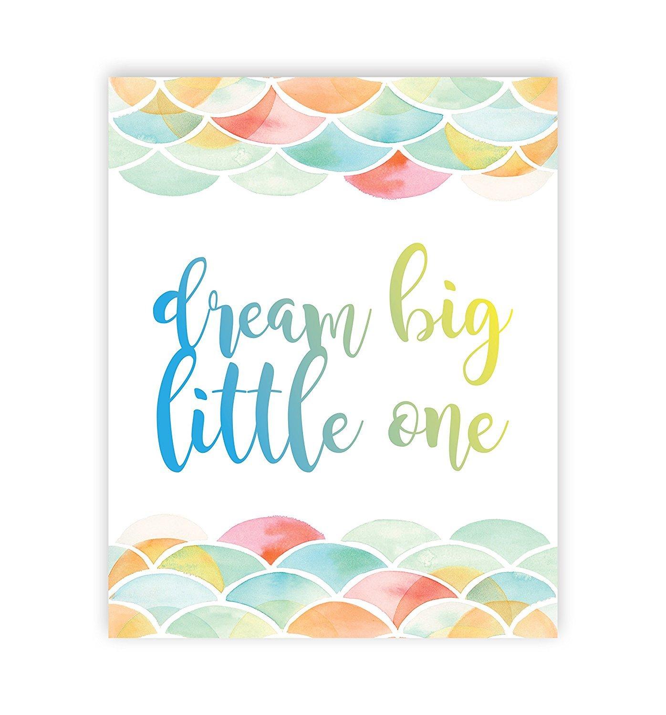 Dream Big Little One 05x07 Inch Print Mermaid Pattern Gender Neutral Baby Girl Nursery Decor Nursery Print Baby Dream Big Little One First Watercolor Baby Girl Room Art Children Inspire Design SG/_B073RBQNV3/_US
