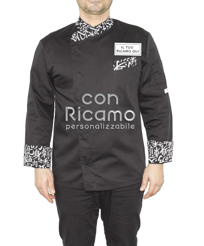 Giacca Cuoco con Nome Ricamato Personalizzabile Online Modello Durango Nero Sushi Isacco