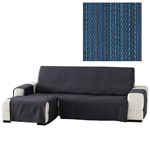 Jarrous Funda Cubre Chaise Longue Práctica Modelo Erika, Color Azul (C/03), Medida Extra (290cm), con Brazo Izquierdo (Mirándolo de Frente)