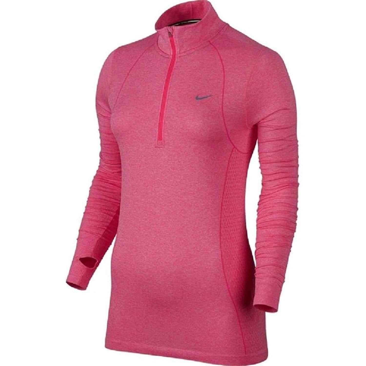 Nike Women's Dri-FIT Knit Long Sleeve Half Zip Running Shirt Hyper Punch 588534-660 (X-Large) by NIKE