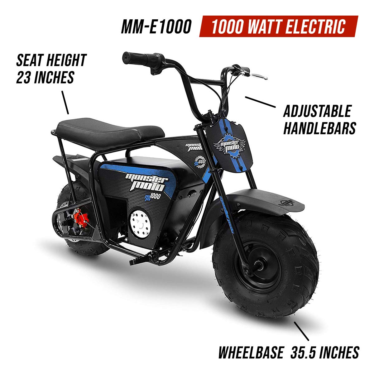 Monster Moto Mm E1000 Bb Electric Mini Bike Assembled Manual Cableado Electrico Minimoto Chopper 49 In The Usa 1000watt Blue Black Automotive