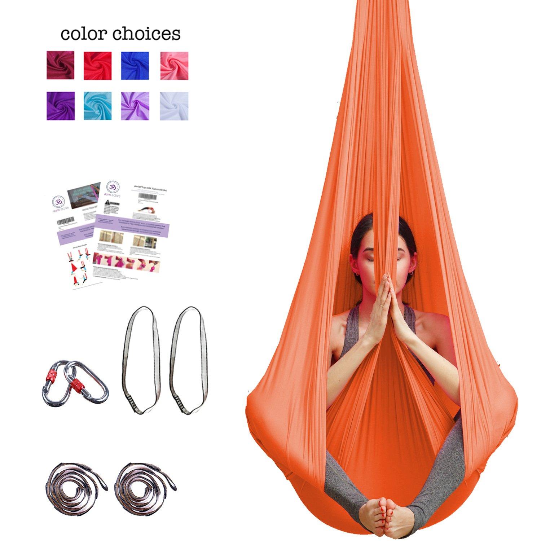 Aum Active Silk Aerial Yoga Swing & Hammock Kit for Improved Yoga Inversions, Flexibility & Core Strength (Orange)