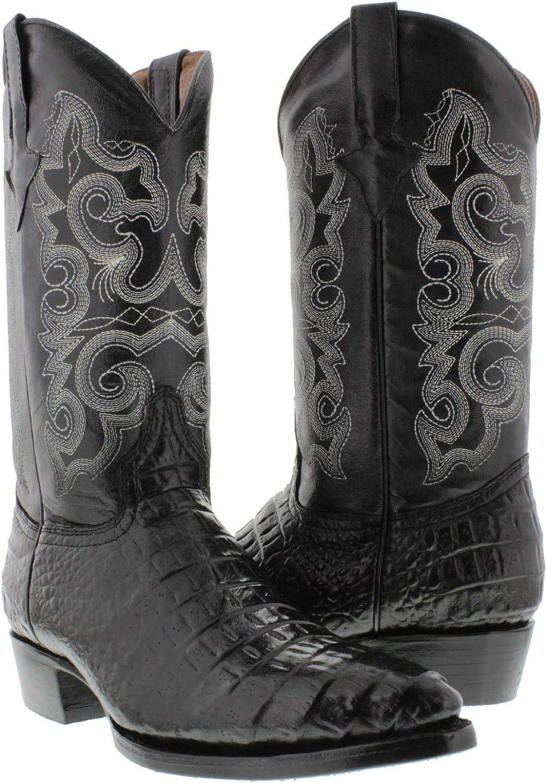 Mens Black Crocodile Alligator Big Belly Print Western Cowboy Boots Leather J
