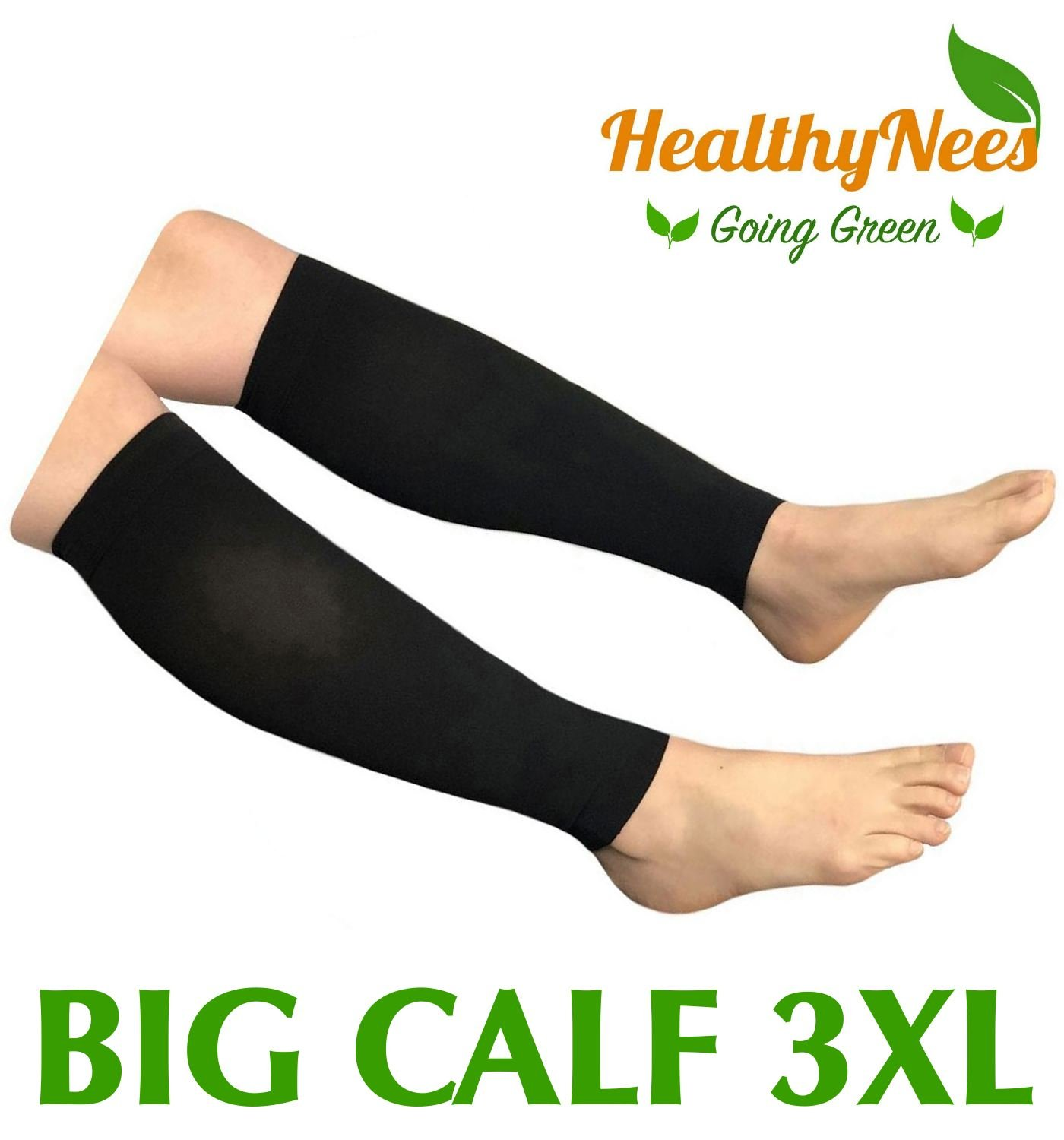 HealthyNees Shin Calf Sleeve 20-30 mmHg Medical Compression Circulation Extra Wide Plus Size Big Tall Leg Thick Calves Firm Support (Black, Big Calf 3XL)