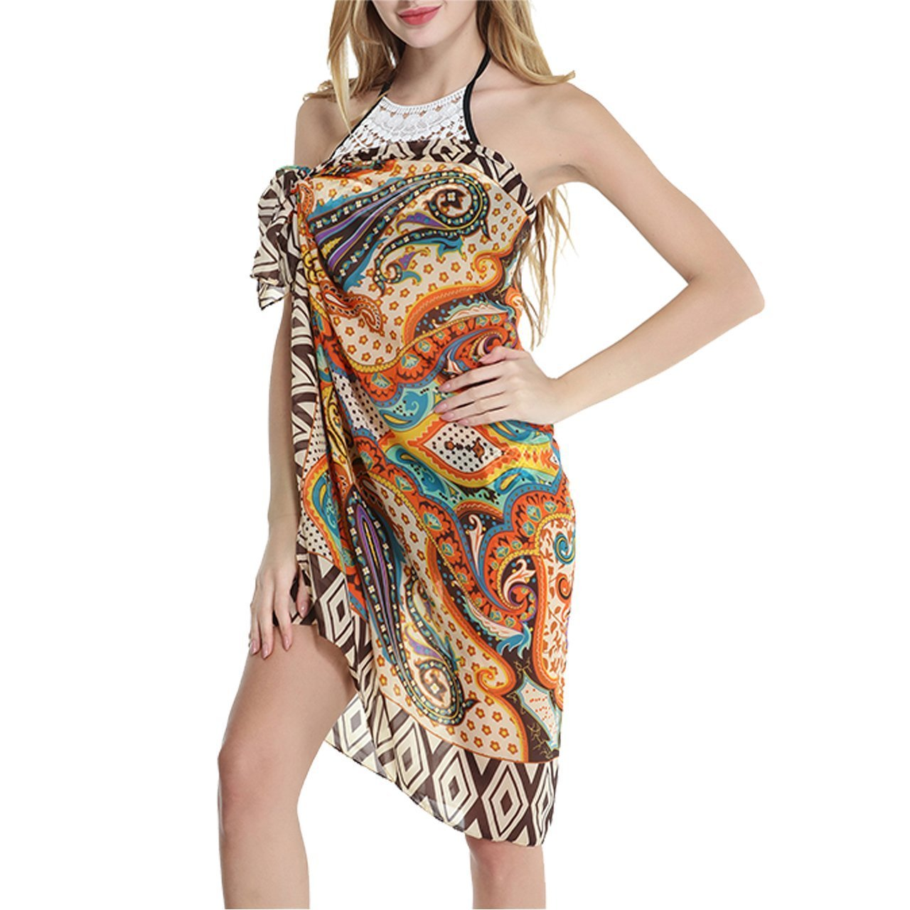CHIC DIARY Women\'s Bohemian Printing Swimsuit Cover up Sarong Beachwear Wrap,Coffee (Coffee)