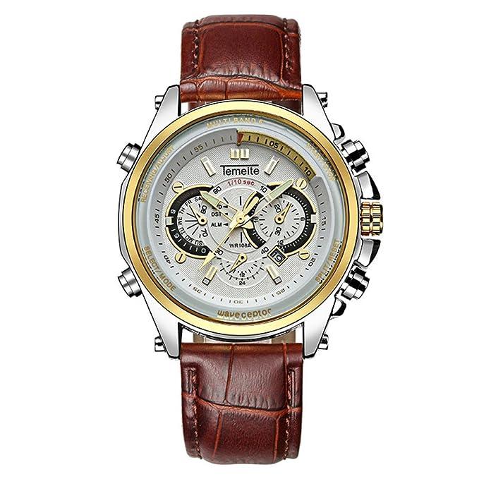 Amazon.com: Watch Three-Eye Decoration Mens Waterproof Watch Luminous Calendar Quartz Mens Calfskin Watch (Gold-White): Watches