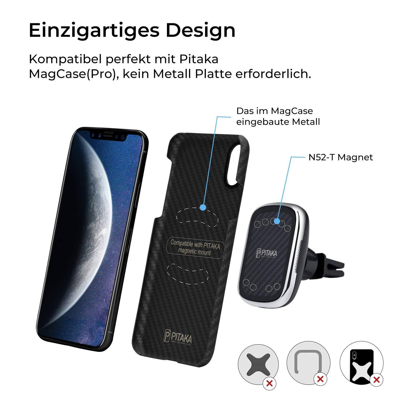 pitaka Compatible Solo con MagCase y MagCase Pro, r/ápido Soporte para tel/éfono m/óvil Qi inductivo para iPhone Galaxy Qi Soporte magn/ético para Coche para Carga inal/ámbrica New MagMount Qi