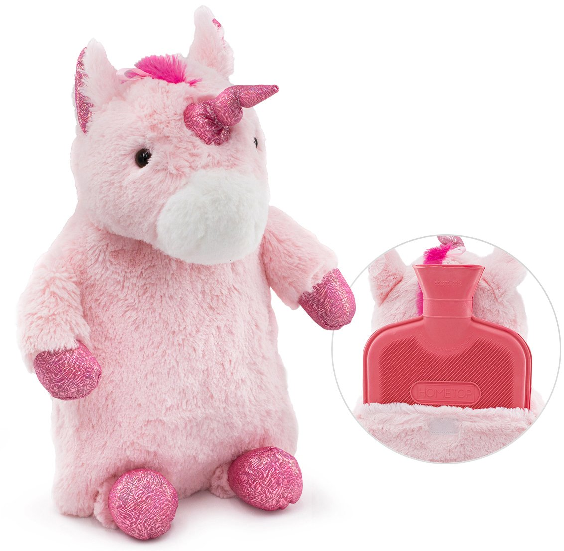 HomeTop Premium Classic Rubber Hot Water Bottle with Cute Unicorn Cover (1L, Pink)