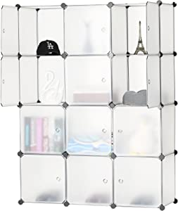 BASTUO Cube Storage Organizer, 12-Cube Plastic DIY Cabinet Units, Modular Bookcase Shelves Organizer Wardrobe Closet with Door for Livingroom, Bedroom and Office