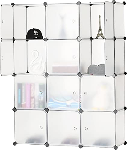 12-Cube Storage DIY Modular Cube Organizer Cabinet 4-Tier Bookcase Storage Cube Organizer Closet with Door