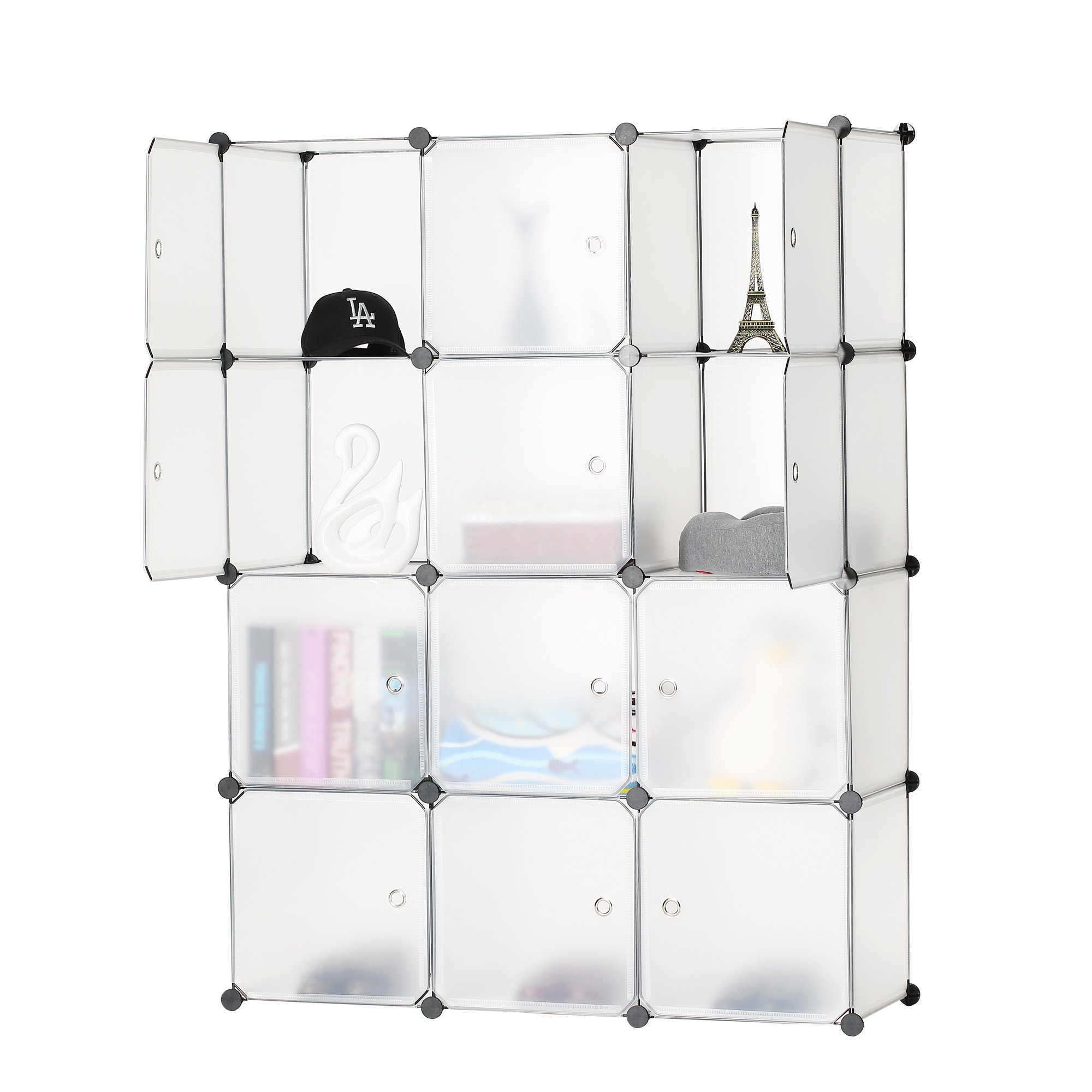 BASTUO 12-Cube Storage DIY Modular Cube Organizer Cabinet 4-Tier Bookcase Storage Cube Organizer Closet with Door