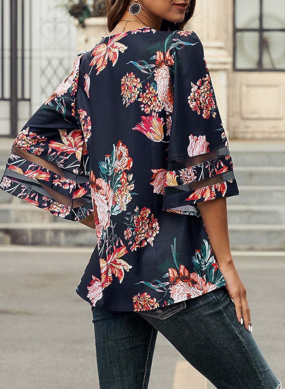 maniche a 3//4 con campanello taglie S-XL a tinta unita casual iChunhua Maglietta da donna con scollo a V