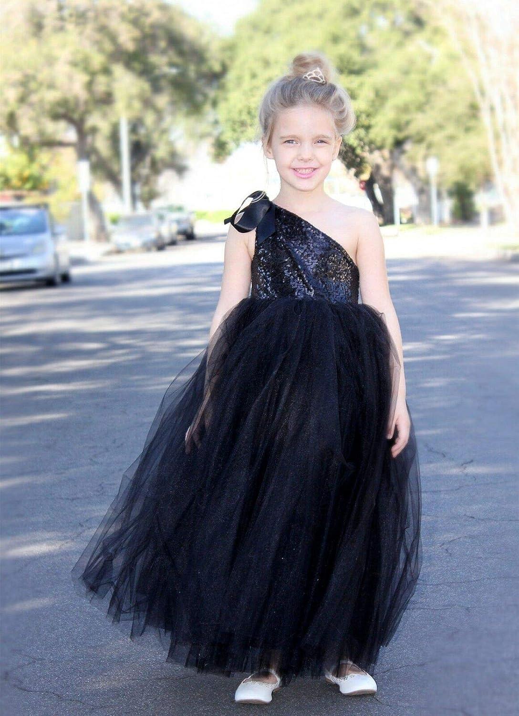 ekidsbridal One-Shoulder Sequin Tutu Junior Flower Girl Dresses Christening Dresses 182