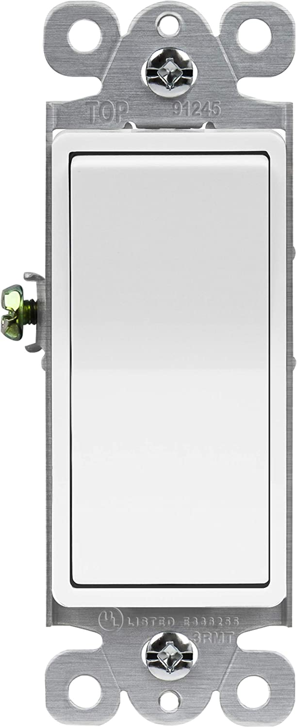 ENERLITES Momentary Contact Decorator Light Switch for Garbage Disposals, Spring Release Paddle, 120-277VAC 15A, Single-Pole, UL Listed, 91245-W, White