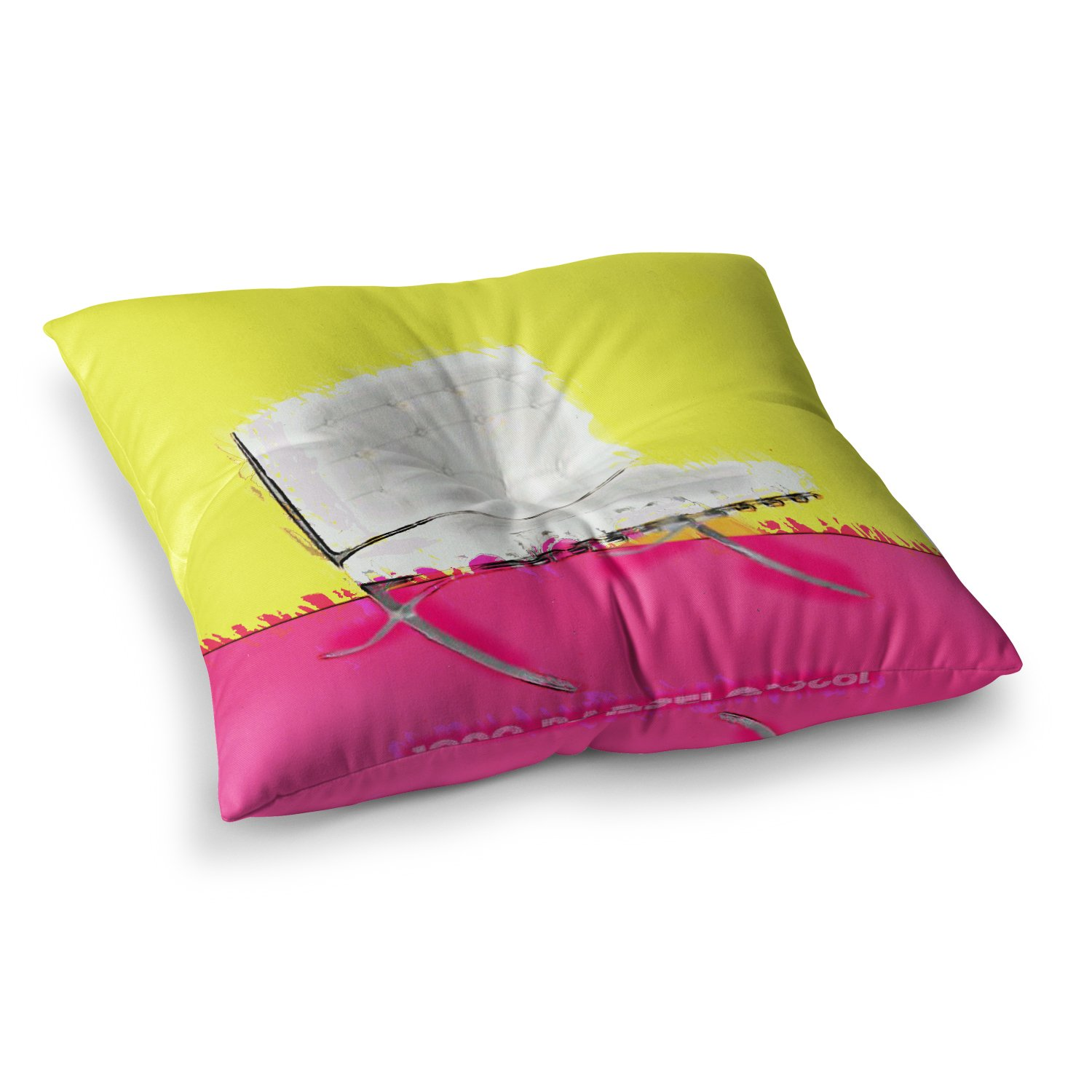23 x 23 Square Floor Pillow Kess InHouse Oriana Cordero Barcelona Chair Pink Yellow