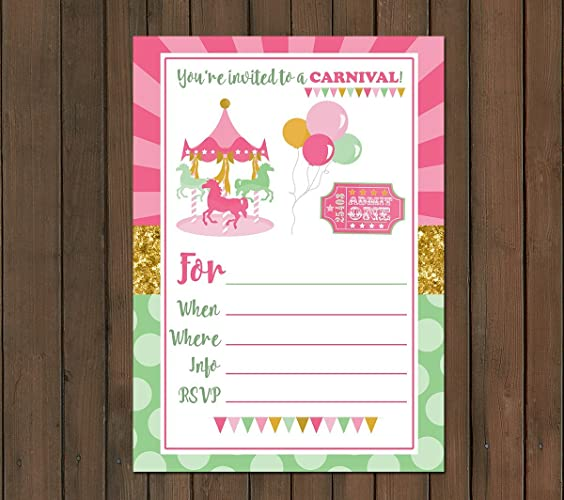 Amazon Com Carnival Themed Invitations 10 Ct 5x7 215 Gsm