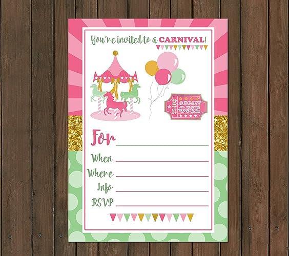 amazon com carnival themed invitations 10 ct 5x7 215 gsm