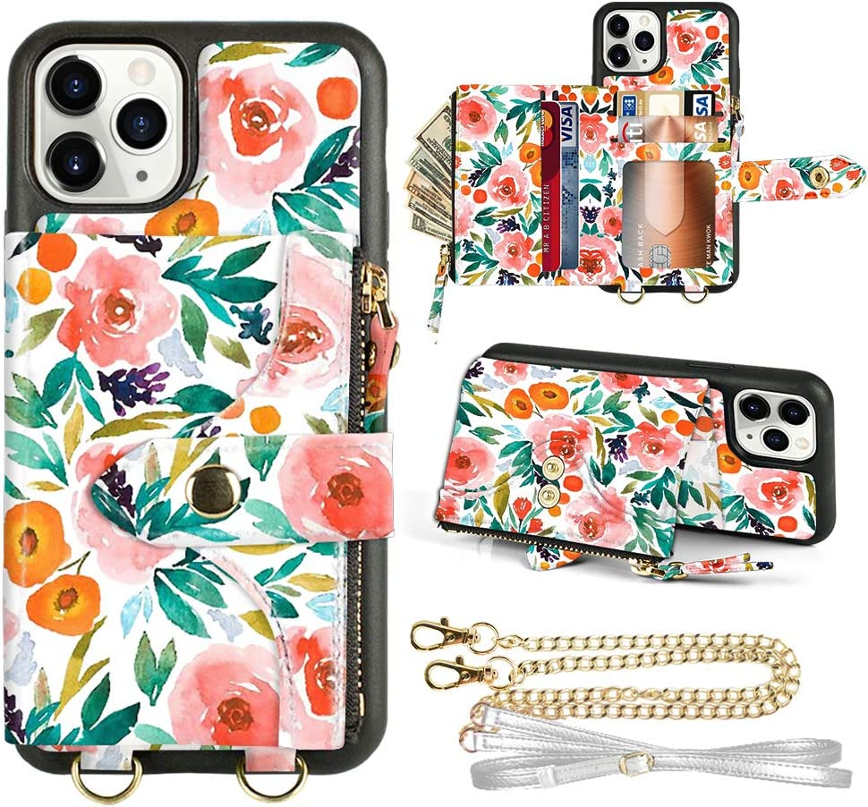 iPhone 11 Pro Max Wallet Case, LAMEEKU Crossbody Case Wallet Card Holder Case Lanyard Case with Strap Credit Card Slot Leather Shockproof Case for iPhone 11 Pro Max, 6.5''-Camellia