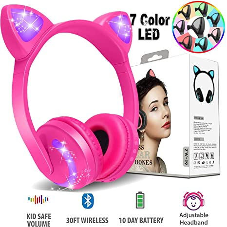 Amazon Com Wireless Cat Ear Kids Headphones Bluetooth 7 Color Led
