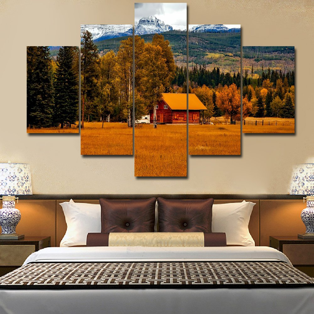 Rustic wall decor log cabin extra large landscape painting on canvas modern artwork nature scene in autumn pictures giclee home decor for living room framed