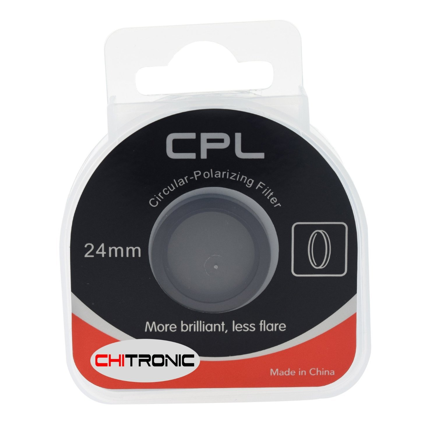 CPL Filter Glass 24mm Lens - Circular Polarizer Suitable for The Amacam AM-M88 and AM-90 Car Dash Cams. Also for Photography and Still Cameras. Affordable Optical Polarising Filter.