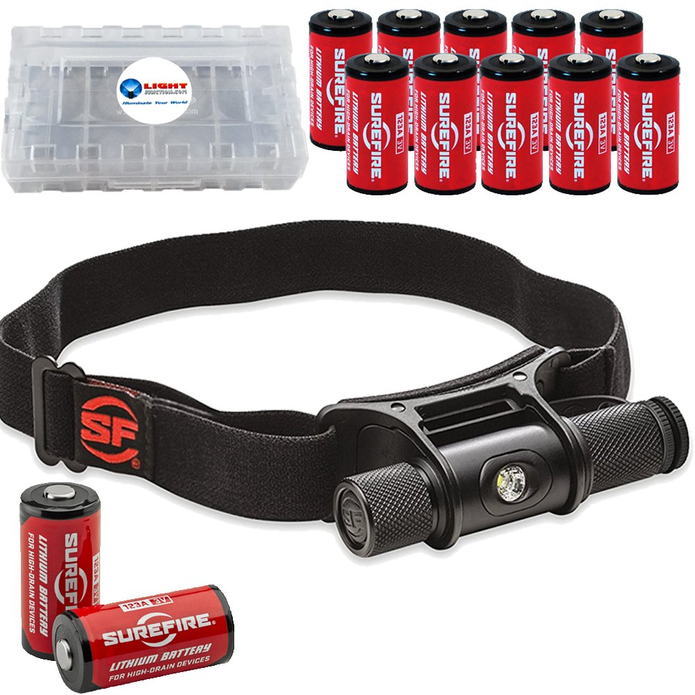 SureFire Minimus Variable Output LED Headlamp with MaxVision Reflector with 12 Extra Surefire CR123A Batteries and 3 Battery Boxes