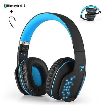 Bluetooth auriculares inalámbricos, yocuby plegable cancelación de ruido auriculares para juegos con micrófono y luz