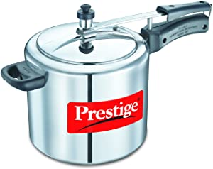 Prestige PRNPC6.5 Nakshatra Plus 6.5-Liter Flat Base Aluminum Pressure Cooker for Gas and Induction Stove, Medium, Silver