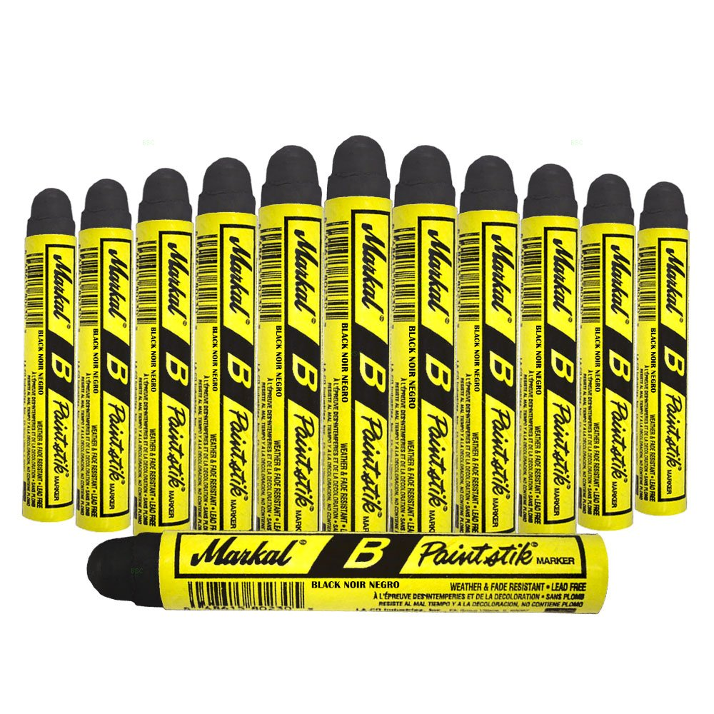 12 Pc Box Black Markal B Paintstiks Crayon Marks Water Oil Dirt Extreme Temp Paint Stick Chalk for Auto Tire Construction Fabric Lumber