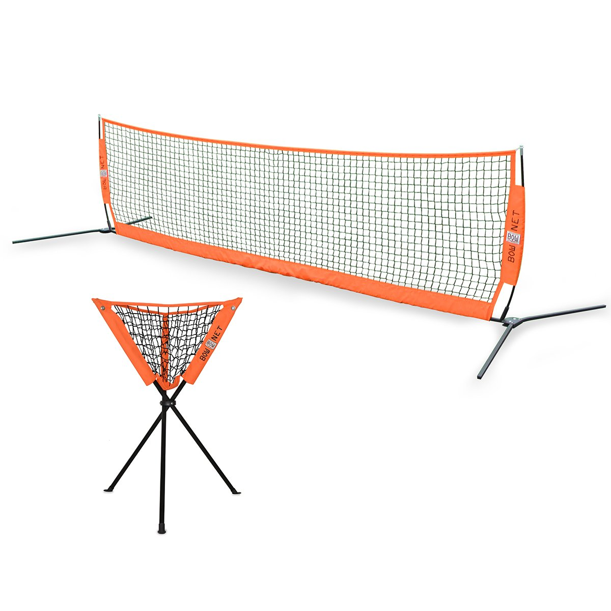 BUNDLE PACK - Bownet 12' x 3' Tennis / Soccer Tennis Net with Tennis Ball Caddy by Bownet